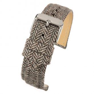 CROFT Brown Wool Herringbone Watch Strap Stitched Edge WH675
