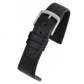 HENLEY Black Water Resistant Leather Stitched Edge Watch Strap WR800