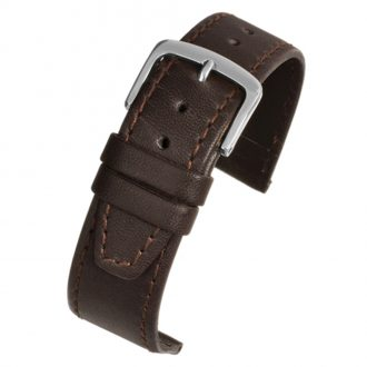 HENLEY Brown Water Resistant Leather Stitched Edge Watch Strap WR805