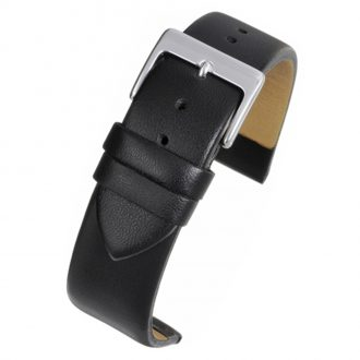 HOXTON Extra Long Black Plain Leather Flat Profile Watch Strap WX100
