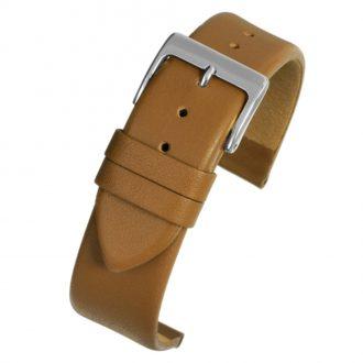 HOXTON Extra Long Tan Plain Leather Flat Profile Watch Strap WX101