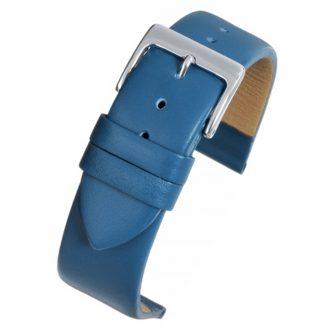 HOXTON Extra Long Blue Plain Leather Flat Profile Watch Strap WX103