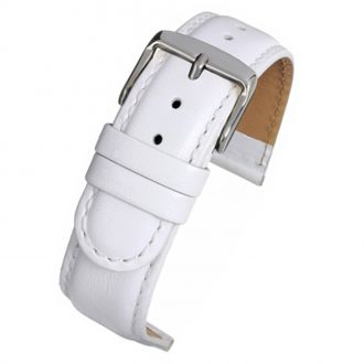 HOBSON Extra Long White Padded Calf Leather Stitched Watch Strap WX104P