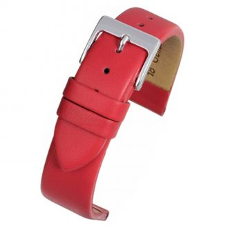 HOXTON Extra Long Red Plain Leather Flat Profile Watch Strap WX107