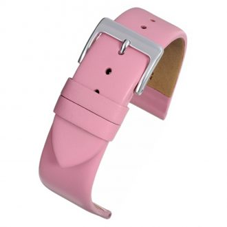 HOXTON Extra Long Pink Plain Leather Flat Profile Watch Strap WX109