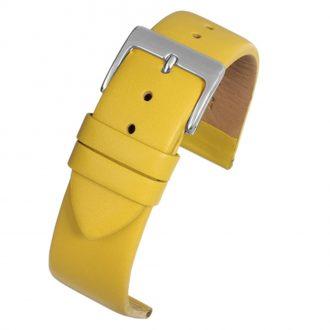 HOXTON Extra Long Yellow Plain Leather Flat Profile Watch Strap WX110