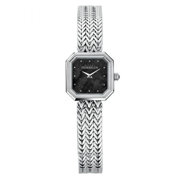 Michel Herbelin Octogone women's watch with black mother of pearl dial model 17436/B49