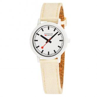 MONDAINE - Essence White 32mm Sustainable Watch Ivory Strap MS1.32111.LT