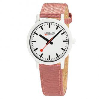 MONDAINE - Essence White 41mm Sustainable Watch Pink Strap MS1.41111.LP