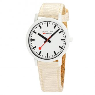MONDAINE - Essence White 41mm Sustainable Watch Ivory Strap MS1.41111.LT