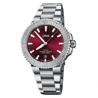 ORIS - Aquis Date Relief Bezel Red Dial Watch 0173377664158-0782205PEB