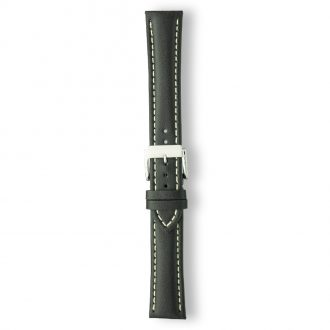 AREZZO Black Heavy Padded Stitched Calf Leather Watch Strap PC450/1