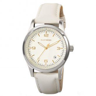 ELLIOT BROWN - Kimmeridge 38mm Champagne Dial Ivory Strap Watch 405-008-L54