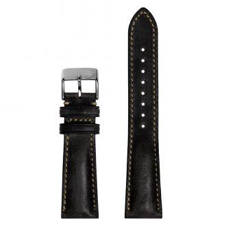 DUCKWORTH PRESTEX - Black Horween Leather Watch Strap 22mm DPBL22