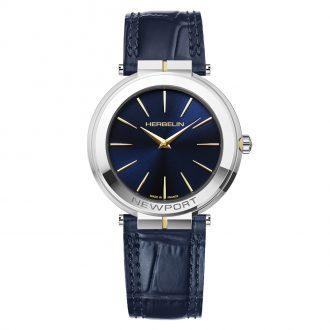 MICHEL HERBELIN - Newport Slim Leather Strap Watch 19522/T15BL