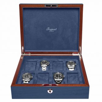 RAPPORT - Heritage Eight Watch Solid Wood Collector Box in Blue Lacquered Finish L403