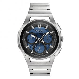 BULOVA - Curv Chronograph Blue Dial Bracelet Watch 96A205