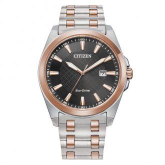 CITIZEN - Two Tone Rose Black Dial Men's Eco-Drive Watch BM7536-53X