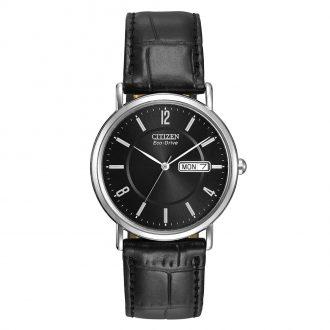 CITIZEN - Classic Black Dial Leather Strap Watch BM8240-03E