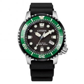 CITIZEN - Promaster Green Bezel Black Dial 200m Divers Watch BN0155-08E