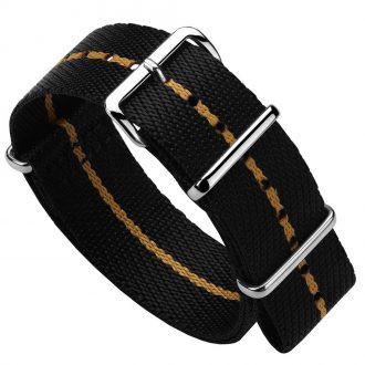 DUCKWORTH PRESTEX - Black NATO Watch Strap with Orange Stripe DPBNO