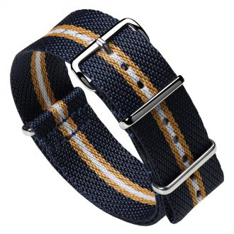 DUCKWORTH PRESTEX - Blue NATO Watch Strap with Ochre and White Stripe DPBNOW