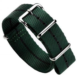 DUCKWORTH PRESTEX - Green NATO Watch Strap with Black Stripe DPGNB