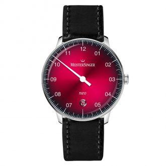 MEISTERSINGER - Neo Plus Sunburst Red Dégradé Dial Strap Watch NE411D