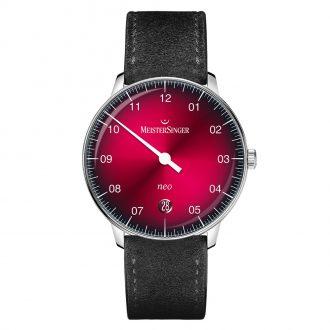 MEISTERSINGER - Neo Sunburst Red Dégradé Dial Strap Watch NE911D